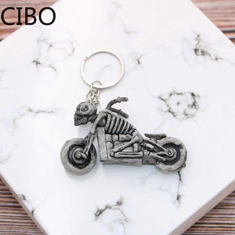 2019 novo esqueleto crânio motocicleta autobike chaveiros chaveiros chaveiro bolsa saco pingente para carro llaveros