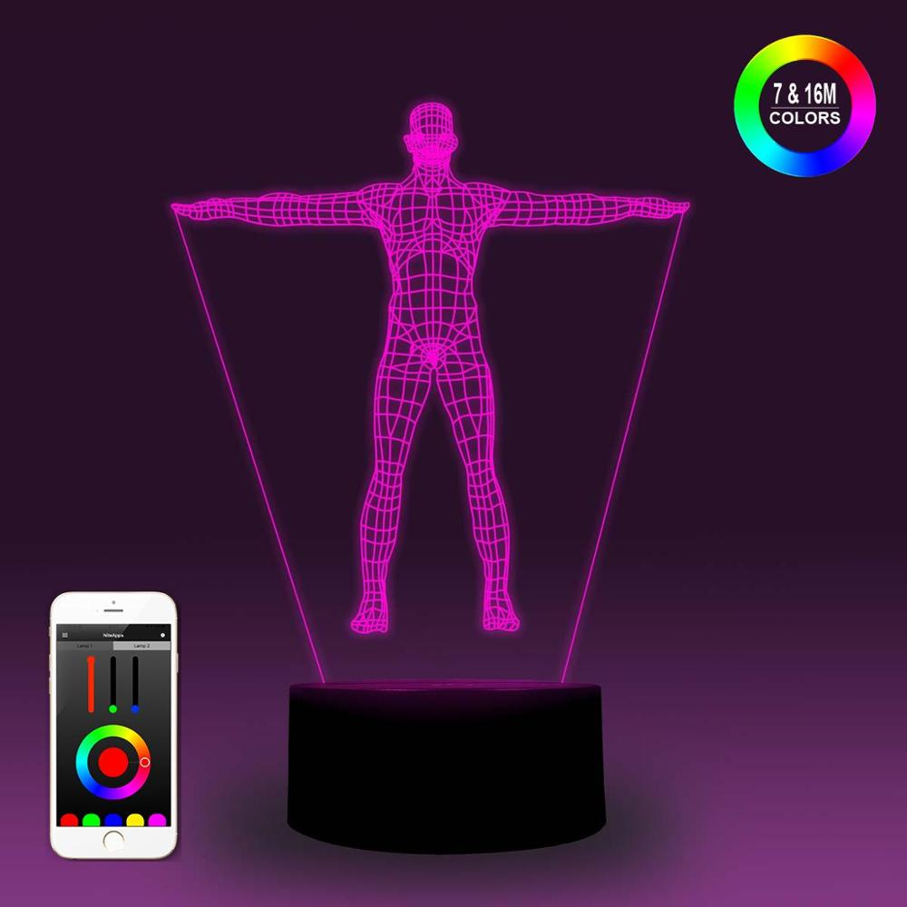 NiteApps 3D Human Body Night Light Desk Table Illusion Decoration Lamp Holiday Birthday Gift APP/Touch Control