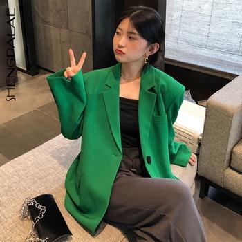 SHENGPALAE осень 2021 Женский блейзер зеленый модный дизайн с одной пуговицей и воротником Большой размер Повседневный костюм с длинным рукавом пальто ZC185|Женские пиджаки|   | АлиЭкспресс