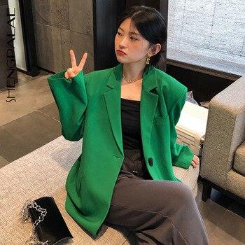 SHENGPALAE sonbahar 2021 kadın Blazer yeşil moda bir düğme tasarım Siut yaka büyük boy rahat uzun kollu takım ceket ZC185
