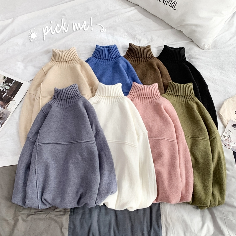 Winter Turtleneck Sweater Men Warm Fashion Solid Color Casual Knit Sweaters Men Loose Long Sleeve Pullover Male Sweter Clothes