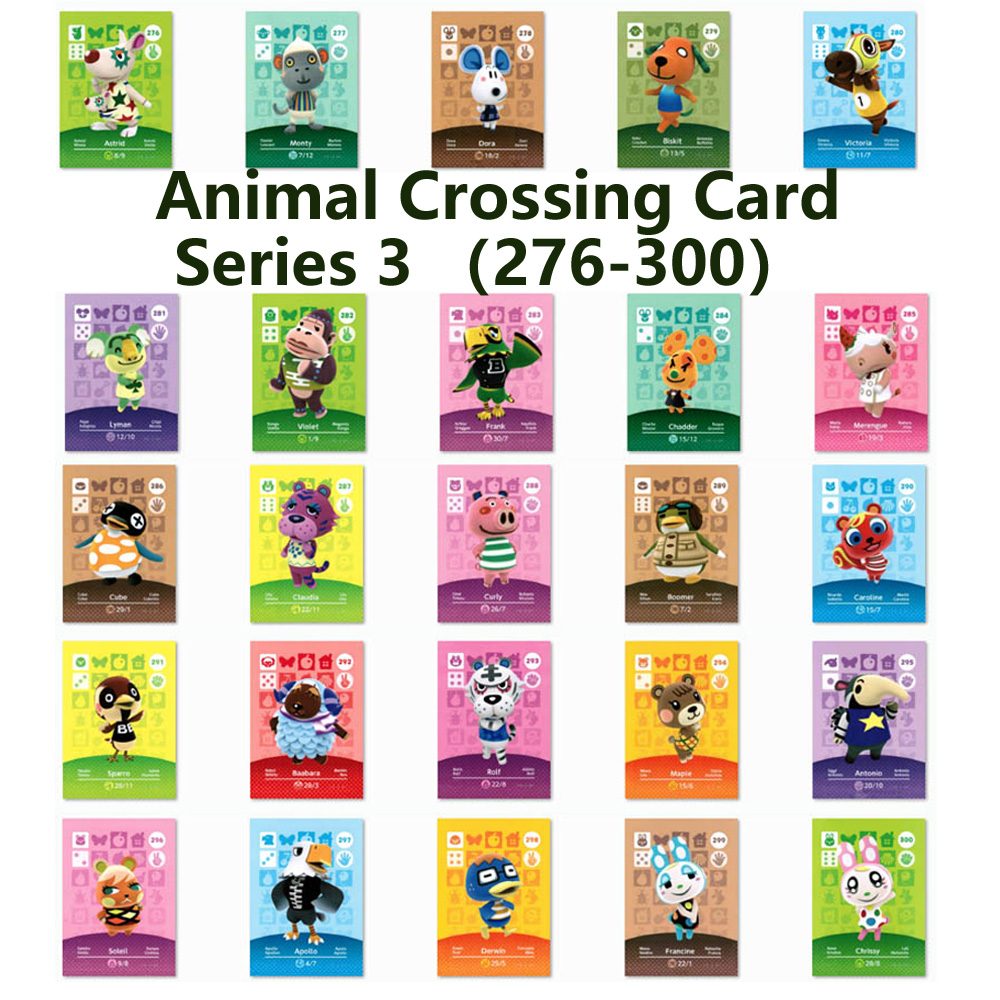 Series 3 (276 To 300) Animal Crossing Card Amiibo Locks Nfc Card Work For NS Games Series 3 (276 To 300)