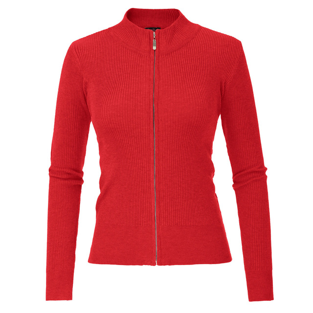 2020 New Casual Knitted Top, Spring And Autumn Long-sleeved Standing Collar Zip Cardigan, Solid Color Slim Cardigan