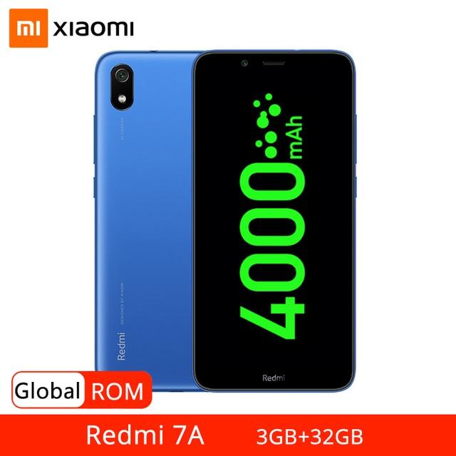"""Küresel ROM Xiaomi Redmi 7A 3GB 32GB Smartphone 5.45 """"HD Snapdragon 439 Octa çekirdek 13MP arka kamera AI yüz kilidini cep telefonu"""
