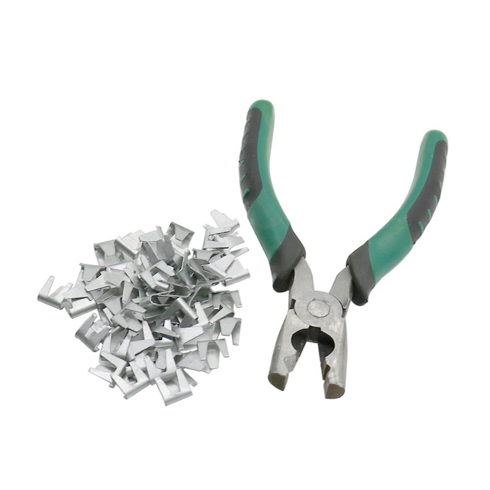 1 Pcs Snap Pliers + 400Pcs Card Buckle Nails Cage Assembling Forceps and Nails Chicken Rabbit Cat Dog Cage Fastening Accessories