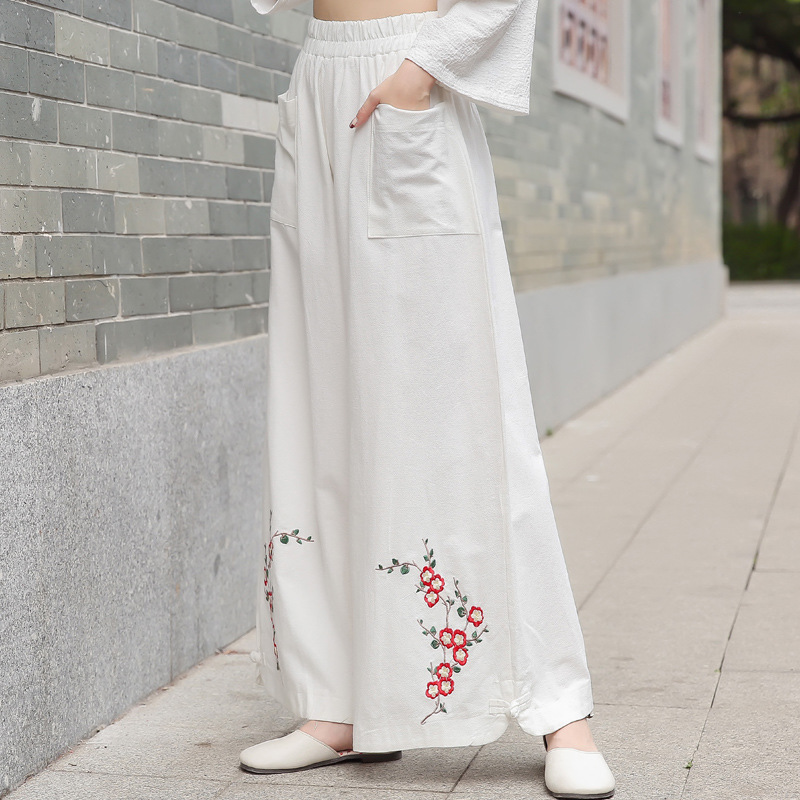 2019 Spring And Summer WOMEN'S Dress New Style Embroidered Cotton Linen Loose Pants Loose And Plus-sized Embroidery Literature A