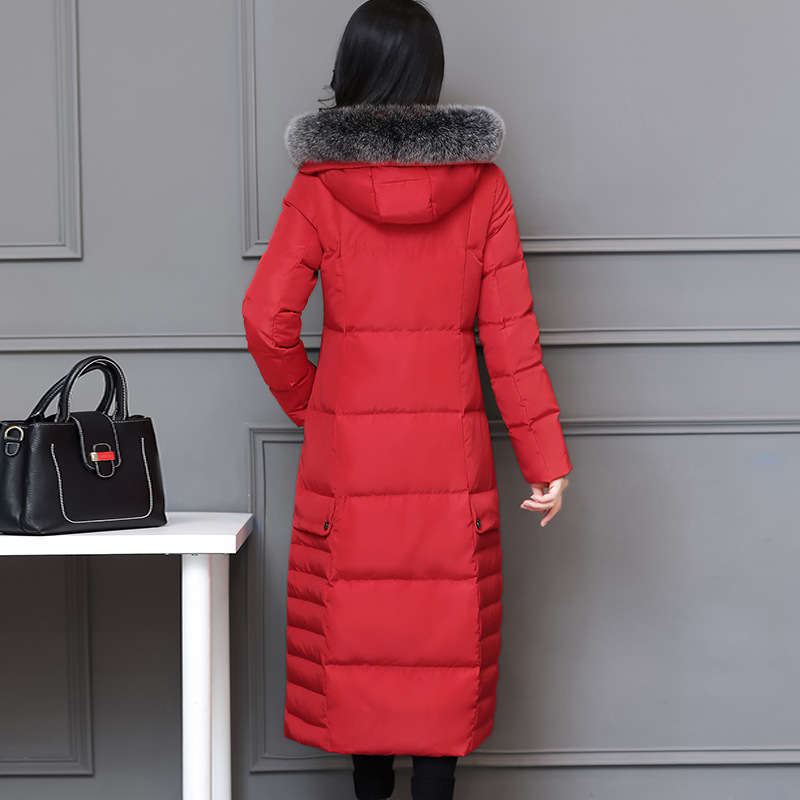 Winter Duck Down Jacket Women Long Down Coat Female Thick Slim Jackets Clothes Ladies Large Fur Hooded Warm Coat Mxg98018