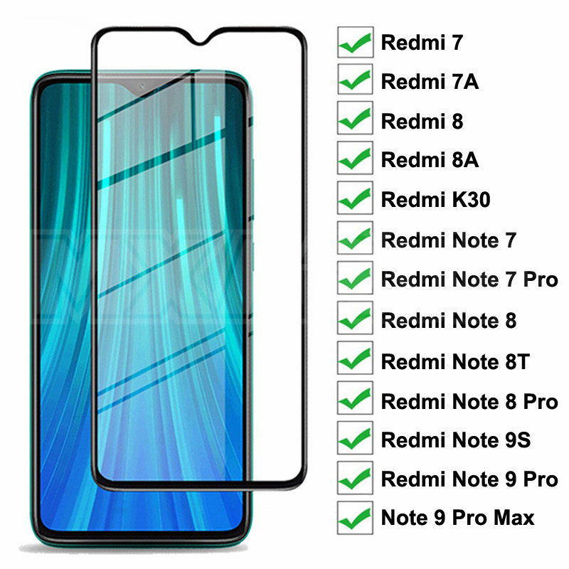 9D Full Protective Glass For Xiaomi Redmi 8 8A 7 7A K30 Tempered Screen Protector Redmi Note 7 8 8T 9S 9 Pro Max Glass Film Case