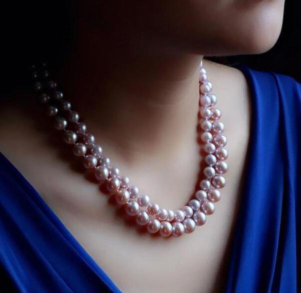 2 rangées 9-10mm véritable naturel mer du sud rose collier de perles 14k