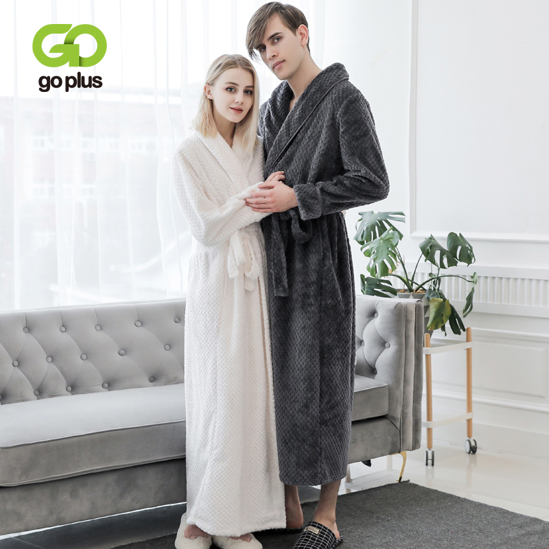 GOPLUS 2019 Winter Noble Couple Robe Women Thick Warm Terry Sleepwear Long Bathrobe Plus Size Gown Robes Women Peignoir Femme