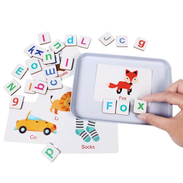 60 desen hayvanlar büyü alfabe bulmacalar manyetik yapboz öğrenme ingilizce oyuncak ahşap çocuk bulmaca oyuncak seti çocuk eğitim oyuncak