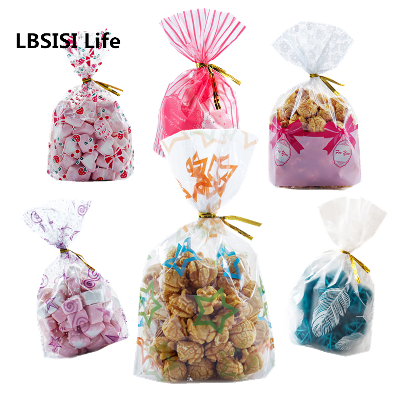 LBSISI Life 10/25/50pcs Plastic Candy Cookie Bags Wedding Birthday Children Christmas Favors Party Snack Packaging Gift Bag