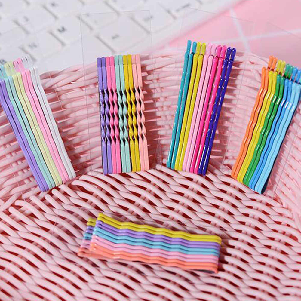 10Pcs 6cm Hair Clips Hairpins Colorful Metal Waved Curly Barrettes Bobby Pins