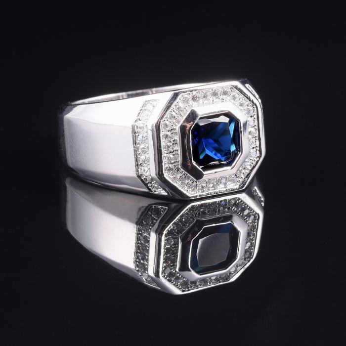 Men's Luxury 925 Streling Silver Blue Sapphire Rings Engagement Wedding Band Ring Jewelry Boys