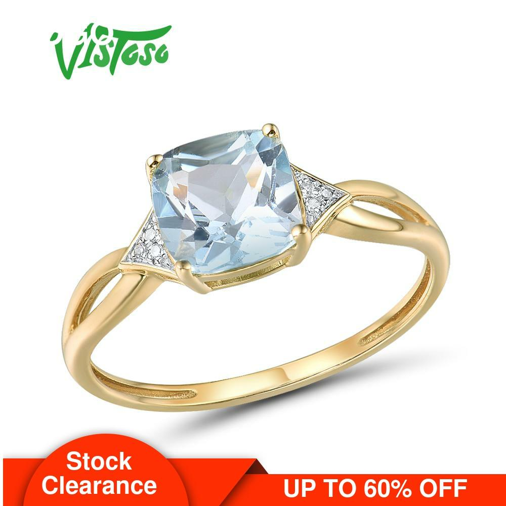 VISTOSO Pure14K 585 Yellow Gold Ring For Women Sparkling Diamond Limpid Blue...