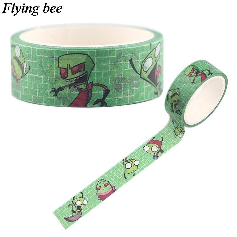 Flyingbee 15mmX5m Invader ZIM Washi Tape Paper DIY Decorative Adhesive Tape Alien Cartoon Masking Tapes Supplies X0548
