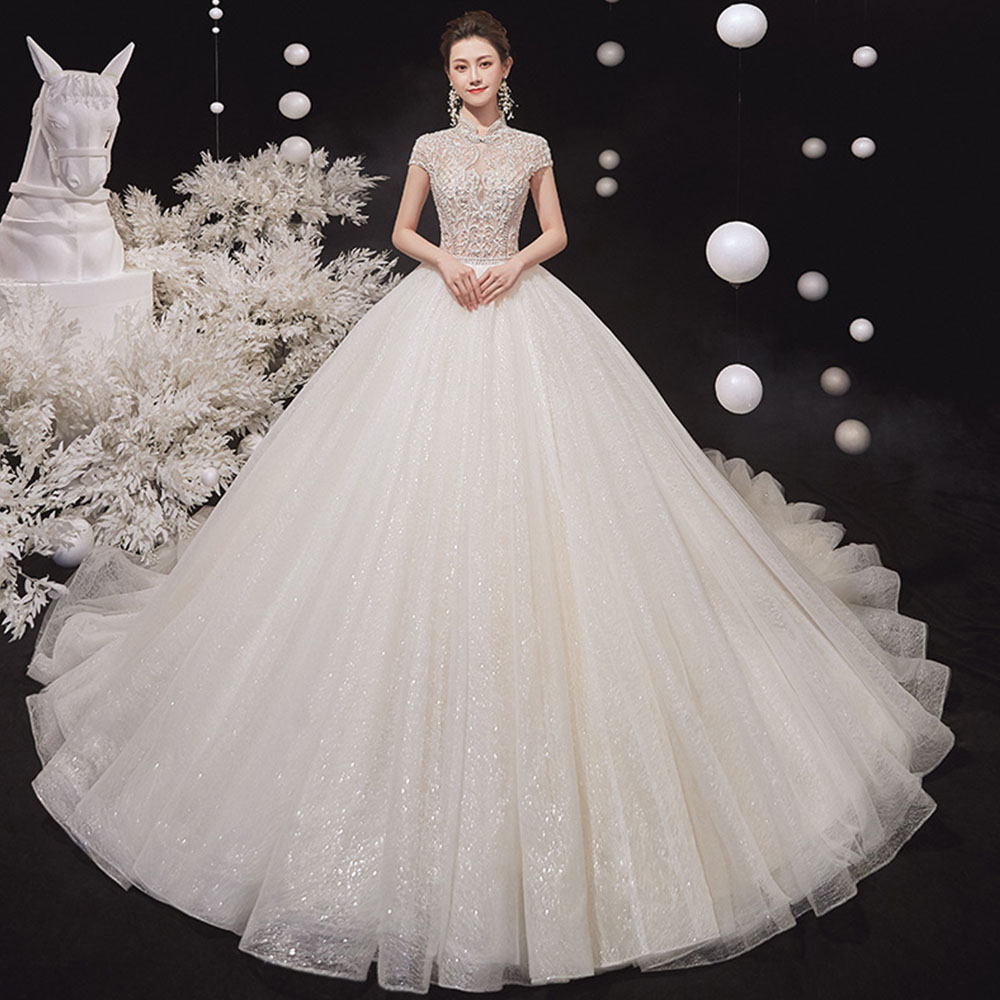 Full Beaded Crystal Shiny Gorgeous Ball Gown Wedding Dress Vestido De Noiva Princesa High Neck Short Sleeve Princess Dresses