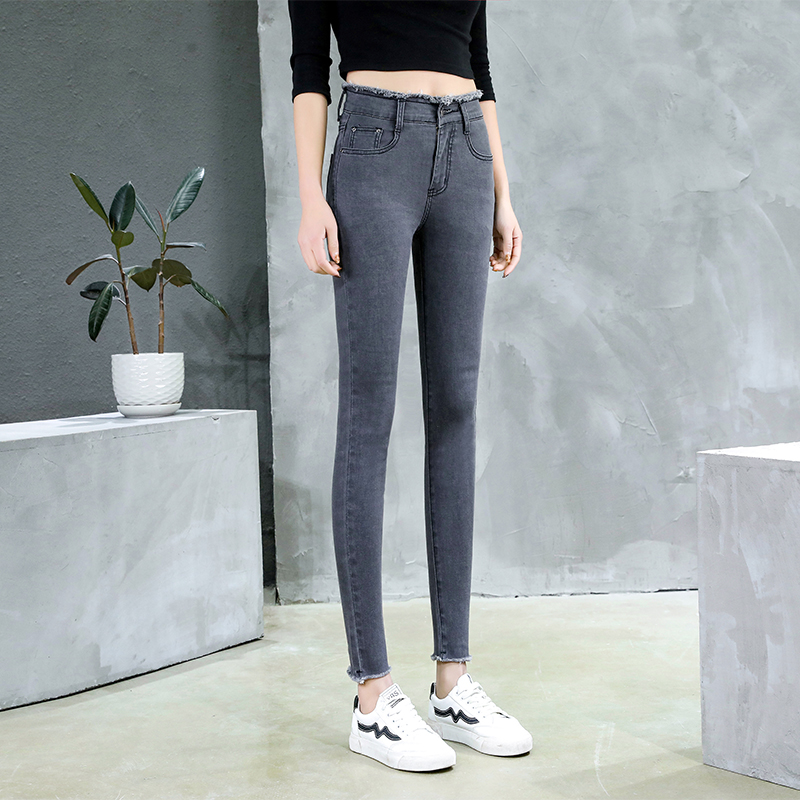 Jean For Women Mom Jeans High Waist Elastic Plus Size Denim Pants Stretch Skinny Pencil Jeans Korean Style Cotton Pantalon Femme