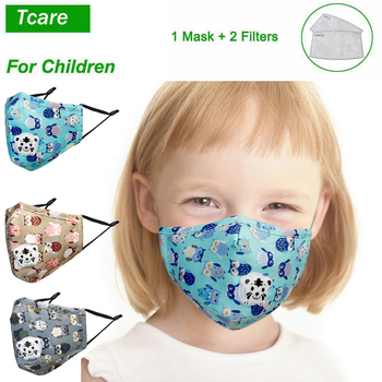 Tcare Mouth Mask Children Kids Pure Cotton Face Mask PM2.5 Respirator with Cartoon Animal Breath Valve Fits 3-15 Years Old Kids