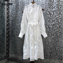 Newest Fashion Designer Dress 2019 Autumn Casual Party Women Allover Appliques Lace Embroidery Long Sleeve Cotton Vintage