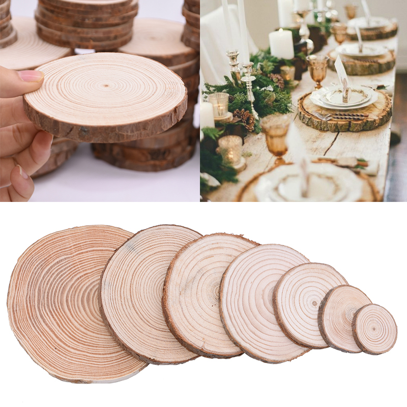 3-12cm Natural Wooden Ornament Round Unfinished Wood Slices Circles With Tree Bark Log Wedding Party Decor DIY Crafts Painting