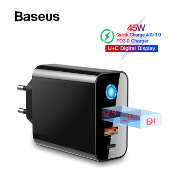 Baseus Digital Display Quick Charge 4.0 3.0 USB Charger QC 4.0 3.0 Charger USB-C 18W PD 3.0 Fast Charger for iPhone 11 Pro