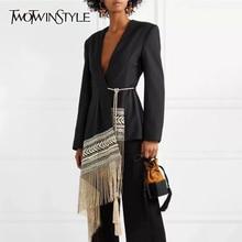 TWOTWINSTYLE Chaqueta asimétrica bordada con borlas para mujer, traje con cuello de pico y manga larga, estilo Indie Folk, tendencia otoñal, 2020