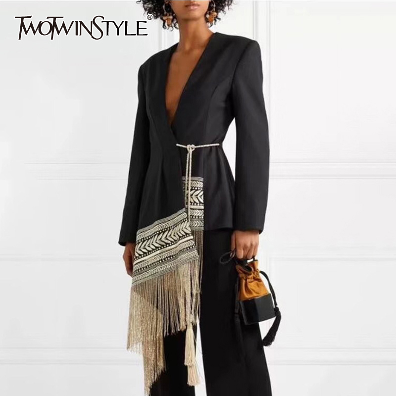 TWOTWINSTYLE Embroidery Indie Folk Women's Suit V Neck Long Sleeve Tassel Patchwork Asymmetrical Blazer Female 2019 Autumn Tide