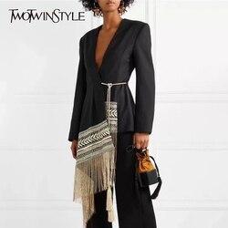Twotwinstyle Borduurwerk Indie Folk Vrouwen Pak V-hals Lange Mouwen Tassel Patchwork Asymmetrische Blazer Vrouwelijke 2020 Herfst Tij