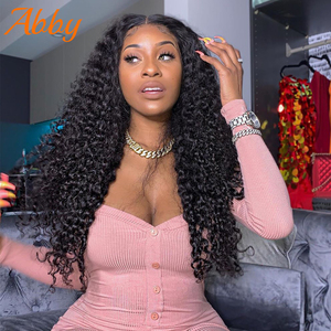 ABBY HAIR Deep Wave Wigs 13x4 Lace Front Human Hair Wigs For Women Peruvian Deep 4x4 Lace Closure Wigs Headband Wigs Human Hair