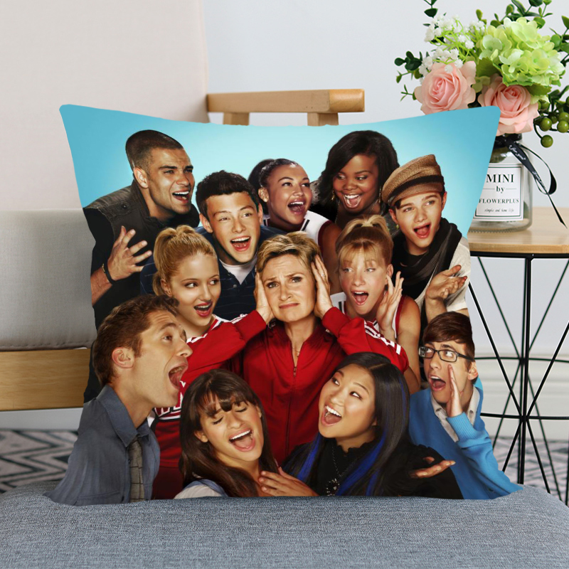 New Nice Glee Pillow Cover Bedroom Home Office Decorative Pillowcase Square Zipper Pillow Case Satin Soft Cover