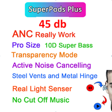 Superpods mais 45db tws sem fio bluetooth fone de ouvido com cancelamento ruído transparência fones pk i99999 plus i900000 pro i990000