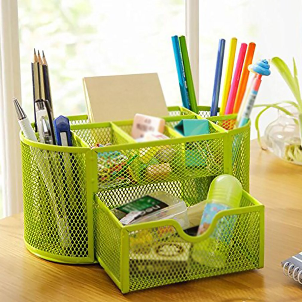 9 Storage Multi-functional Desk Organizer Mesh Metal Pen Holder Stationery Container Box Office School Supplies