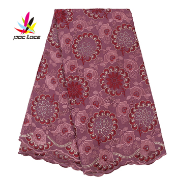2019 100 Cotton Swiss Voile Lace Shiny Diamond Latest Style in Ankara High Quality Dry Lace Embroidered Tulle Fabric AMY2767B