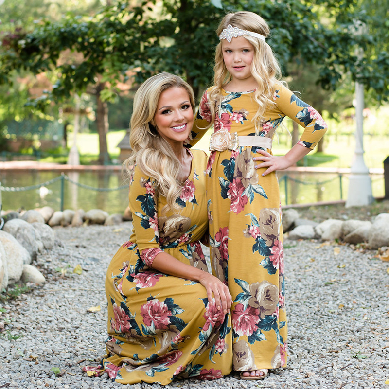 Mother Daughter Dress floral element print mom and daughter dress Mom Family Matching Outfits