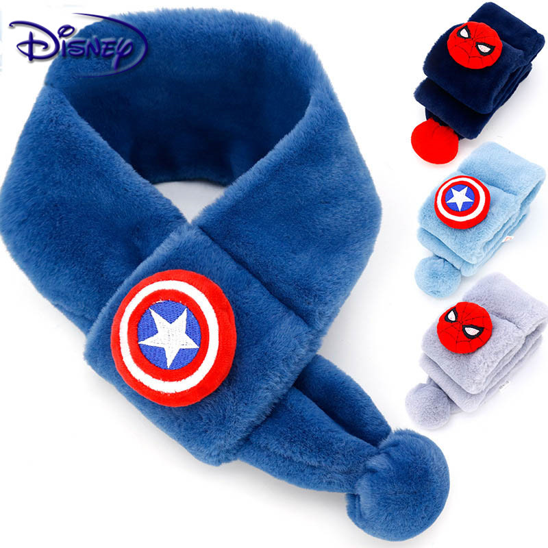 Disney Children's Spiderman Captain America Shield Scarf Boy Marvel Series Windproof Scarf Boy Thicken Warm Plush Collar Scarf