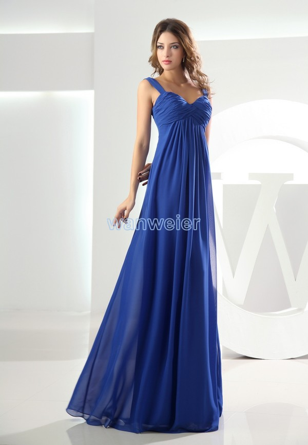 fast shipping in stock floor length prom gown discount pleat chiffon cheap sweetheart beach royal blue evening dress
