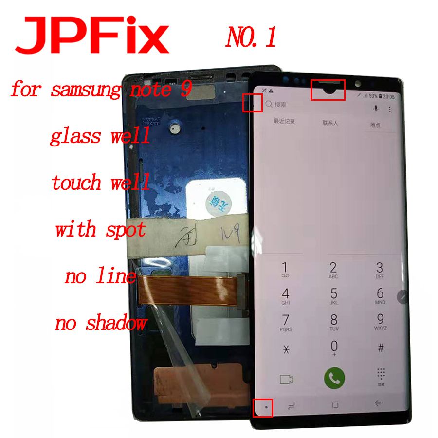 JPFix Super AMOLED LCD For Samsung Galaxy Note 9 N960 N960F N960D N960DS LCD Display Touch Screen Digitizer Assembly With Spots