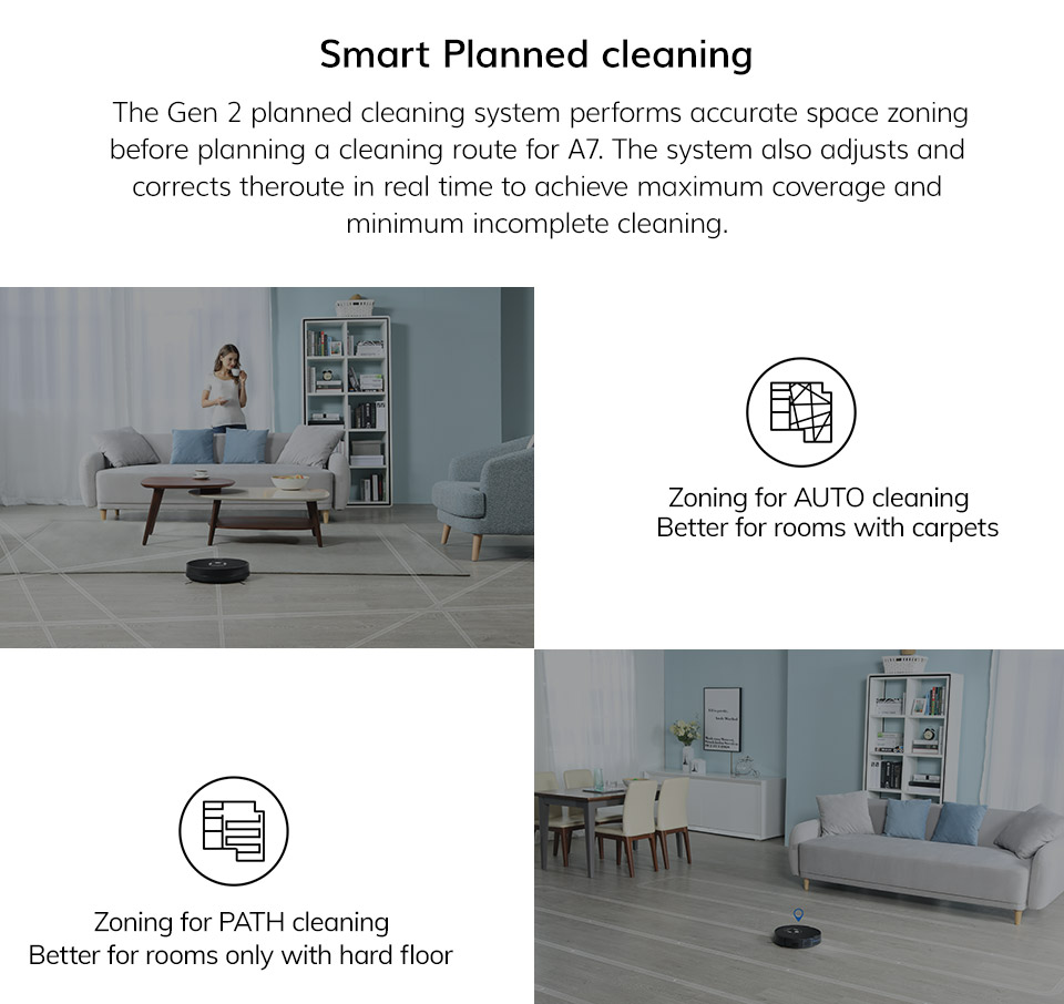 Hc96e5f1e6b454d1f8ad407d867f5b002J ILIFE A7 Robot Cleaner Vacuum Smart APP Remote Control for Hard Floor and Thin Carpet Automatic Recharge Slim Body