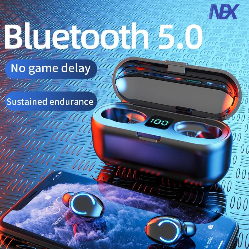 Mini TWS Bluetooth V5.0 Earphones Wireless Headphones Earphones 9D Hifi Sports Waterproof Wireless Earphone Headset Earbuds()