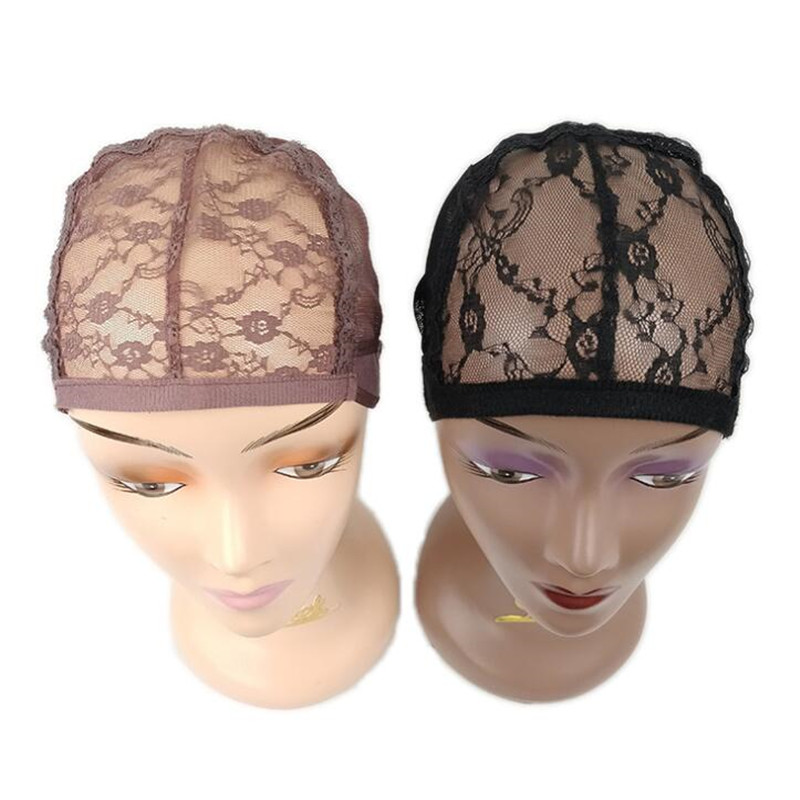 10PCS Black Brown Lace Wig Caps For Making Wigs Adjustable Dome Cap For Wig  Hairnets Stretch Weaving Cap With Rose Flower