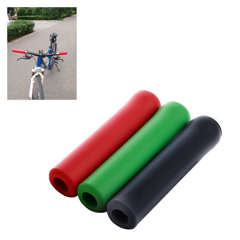 Handle Bar Grips Scooter BMX MTB Mountain Bike Bicycle Cycle Ultralight Silicone(red)