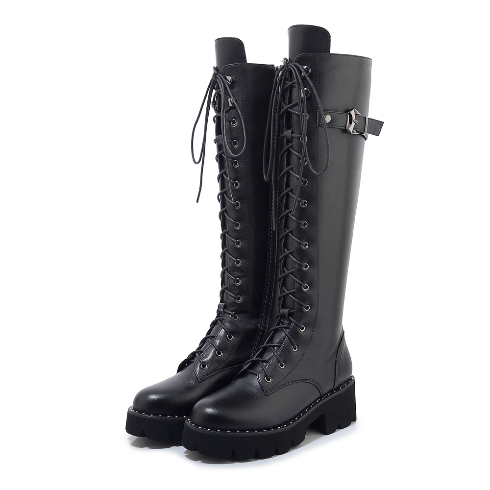 High Quality Women Shoes Boots Long Boots Knee High Boots Lace-up Boots Black