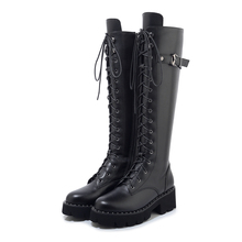 High Quality Women Shoes Boots Long Knee Lace-up Black