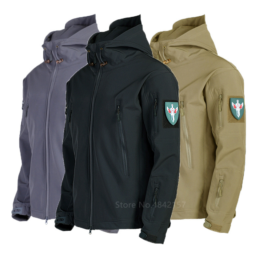 Sharkskin Men Military Uniform Hooded Combat Jacket Windbreaker Waterproof High Quality Thick Tops Hiking Tactical Camouflage