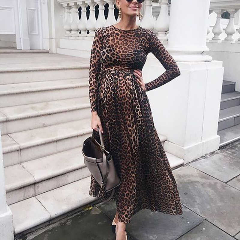 long sleeve high neck Leopard Print Ruffled Midi maternity Dress 2019 autumn winter pregnant dress Elegant get together Dresses