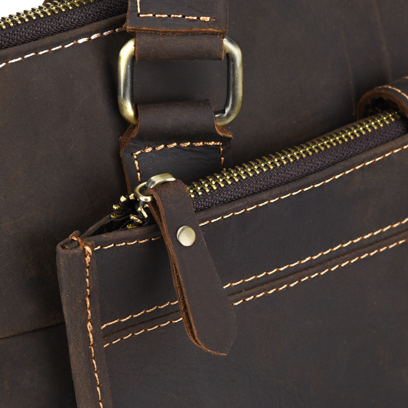 New Men's Handbags Business Genuine Leather Shoulder Bag Leather Handbag With Shoulder Strap Men Male vintage Crossbody Bag - 6
