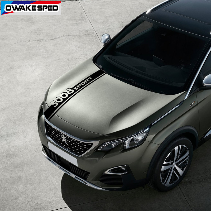 For PEUGEOT 3008 2011-2019 Sport Stripes Car Bonnet Sticker Racing Styling Auto Hood Engine Cover Decor Decals