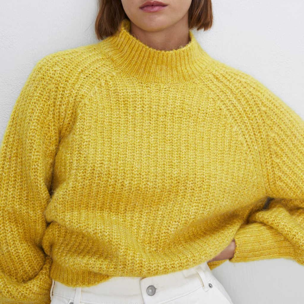 2019 ZA осенний Повседневный однотонный теплый свитер Woemn одежда с рукавом «фонарик» рукав желтый розовый теплый пуловер Женская Осенняя одежда оптовая продажа