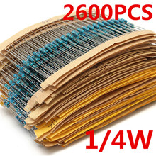 2600 шт., 130 значений, 1/4 Вт, 0,25 Вт, 1%, Металлические пленочные резисторы, стартовый набор, набор резисторов, набор, Лот